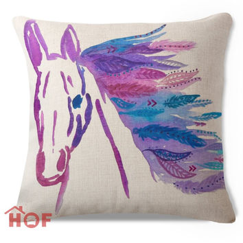 Decorative Throw Pillow Case BOHO Bohemian Purple Horse Cotton Linen HEAVY WEIGHT FABRIC Sofa Car Chair Couch Cushion Cover