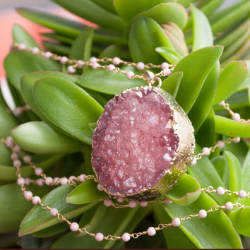 Rose Druzy Crystal Necklace on Pink Coral Wire-wrapped Gold Plated Chain | Pink Druzy Geode electroplated in 24K Gold, Druzy Jewelry Pendant