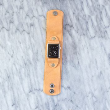 Lux Leather Apple Watch Band in Tan w/ Studs