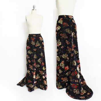 Vintage 1960s VELVET Maxi Skirt -1970s Gathered TRAIN Boho Hippie - Medium