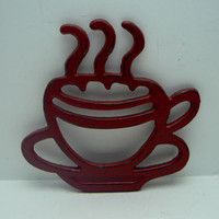Coffee Cup Cast Iron Trivet Hot Plate Heritage Red Distressed Cottage Shabby Chic Ornate Steam Swirls Tea Cup Kitchen Country Chic Decor