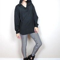 90s Black Gothic Hooded Shirt Long Sleeve Blouse (S/M/L) from Honey Moon Muse