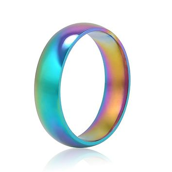 Men Women Rainbow Colorful Ring Titanium Steel Wedding Band Ring Width 6mm Size 6-10 Gift free