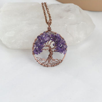 Amethyst Tree Of Life Necklace Pendant Antique Copper Chain Wire Wrapped Tree Precious Gemstone February Birthstone Jewelry