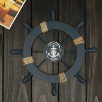 Mediterranean Nautical Wooden Boat Ship Wheel Helm Home Wall Party Decoration Hanging Wall Decoration Bar(Dark Blue)