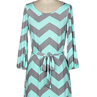 Lila Chevron Print Dress - Gray and Mint