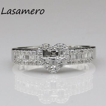 LASAMERO Ring For Women 0.3999CT Round Cut Love Heart Design 18k White Gold Engagement Wedding Ring Anniversary Promise Ring