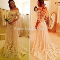 2015 Sexy A Line Off the Shoulder Long Full Sleeves Lace Bridal Wedding Dresses
