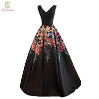 SSYFashion New Black Retro Printing Flower Black Satin Evening Dress The Bride Banquet V-neck Floor-length Long Prom Party Gowns