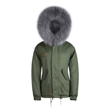Raccoon Fur Collar Parka Jacket Grey