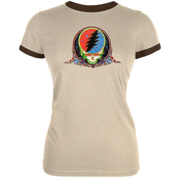 Grateful Dead - Calaveras Juniors Ringer Tan T-Shirt