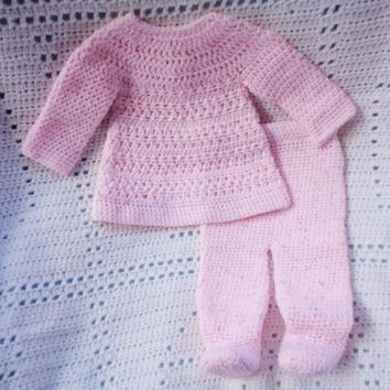 Crocheted Newborn Top Pant Set Baby Girl Pink