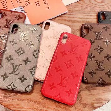 Louis vuitton fashion hit for couples casual monochromatic embossed iPhone case