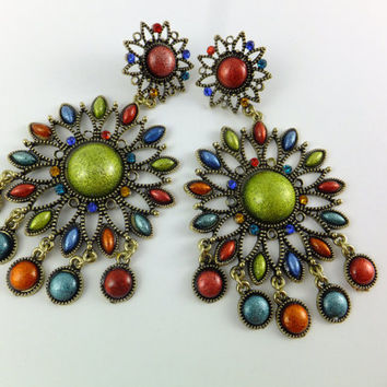 Gypsy Earrings Flower Kitch Rhinestones Colorful Earrings, Gold Tone, Rhinestone Earring Green Red Blue Yellow Kitch