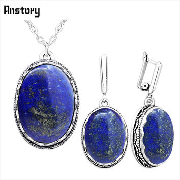 Oval Natural Lapis Lazuli Jewelry Set Necklace Earrings For Women Antique Silver Plated Stainless Steel Chain Wedding Party Gift