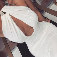 NATTEMAID Hollow Out Halter Party Dresses Women Backless sexy Dress women Bodycon Bandage Midi Pencil night Club Dress vestidos