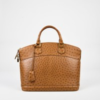 "Louis Vuitton Tan Brown Ostrich ""Lockit MM"" Satchel Bag,beautiful leather handbag Nove"
