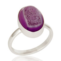 Pink Druzy Statement Ring Handcrafted In Solid Sterling Silver Jewelry