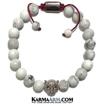 POWER: White Turquoise | Panther CZ Pave | Adjustable Chakra Reiki Yoga Meditation Bracelet