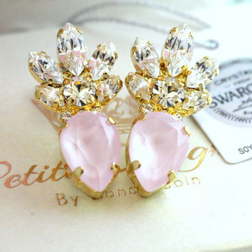 Rose Quartz Earrings,Swarovski Statement Earrings,Powder Pink Earrings,Bridal Earrings,Blush Wedding Crystal Jewelry,Gift For Her,pInk Studs