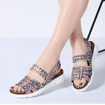 Multi colors flats slip on sandals for female