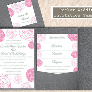 Pocket Wedding Invitation Template Set DIY EDITABLE Word File Download Floral Rose Invitation Pink Wedding Invitation Printable Invitation