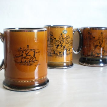 vintage Royal Bradwell - Arthur Wood ~Sports Series - London - Tankards - MUG~ Stein ~ Ye Olde Coaching Hunting Days~stagecoach~ Earthenware