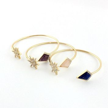 3Colors Arrowhead Natural Stone Cuff Bangle Gold Color Geometric P Crystal Flower Bracelets for Women Accessories Jewelry