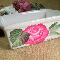 Hand Painted White Ceramic Multi Purpose Loaf Pan Trinket Dish Pink Rose Design Cottage Victorian Home Decor Dresser Top Vanity Table Tray