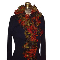 Ruffle Scarf Autumn Colors Handmade Knitted