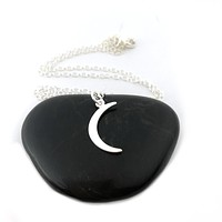 Moon Charm Necklace - Sterling Silver Jewelry