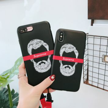 Trendy Supreme Funny Beard Iphone 6 6s Plus /7 7 Plus / 8 8 Plus /X Cover Case