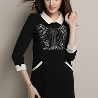 Black Long Sleeve Beaded Embroidered Mini Dress with Collar