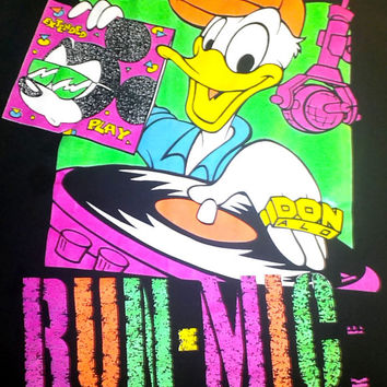 Vintage Disney Hip Hop Tee - DOPE 90s Unisex Florida Tourist Souvenir Graphic T-Shirt - DJ Donald Duck and Run Mickey NEON Shirt - Large L