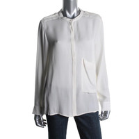 Theory Womens Silk Pocket Button-Down Top