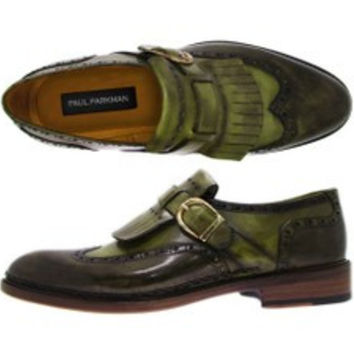 Paul Parkman Mens Wingtip Monkstrap Brogues Green Hand-Painted Leather Upper With Double Leather Sole (Id#060) 11651