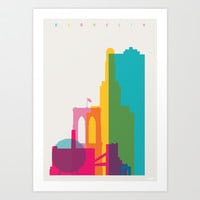 Shapes of Brooklyn. Accurate to scale Art Print by Yoni Alter