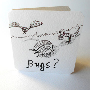 Handmade small gift card with funny insects and bugs, blank card for kids with red envelope