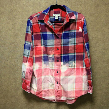 Bleached ombre blue and red flannel ONE OF A KIND