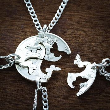 Butterfly Puzzle Jewelry, 4 Best Friends Necklaces, Coin by Namecoins
