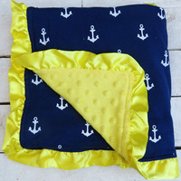 Anchor Minky Blanket Navy/Yellow