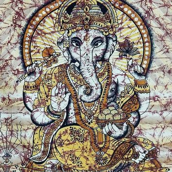 Ganesha Elephant Bohemian Boho Brown Gold Wall Beach Bed Tapestry