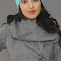 Mustache Knit Beanie Hat in Mint Green