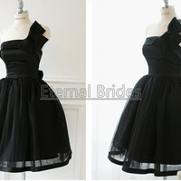 Satin Black Ball Gown/White/ Iovry Short Ball Gown Dress/ One Shoulder Short Ball Wedding Dress with Butterfly