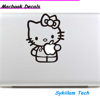 Lovely Hello Kitty Hole Logo for apple Sticker Macbook Skin Air 11 13 Pro 13 15 17 Retina Decal Laptop Auto Vinyl Label Case