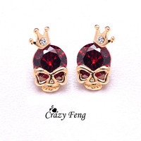 Skull Pierced Stud Halloween Earrings