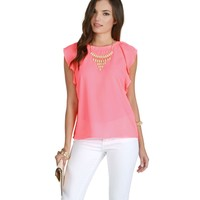 Sale-neon Coral Ruffle Play Top