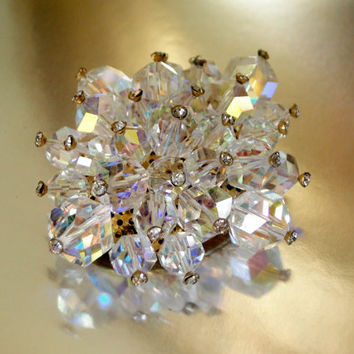 AB Brooch Faceted Glass Crystal Diamond Rhinestone Tips Jonquil Shape 1950's Vintage Jewelry Pin