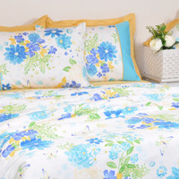 Ocean Blue Floral Duvet Cover Set in Full Queen King Size - Turquoise, Mustard Yellow Pure Cotton Sateen Fabric - Floral Shabby Chic Bedding