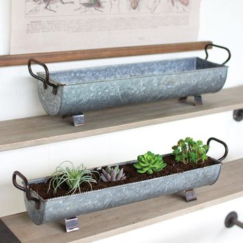 Oblong Zinc Planters With Brass Detail (Set of 2)